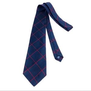 Wide Red Blue Plaid 100% Silk Tie